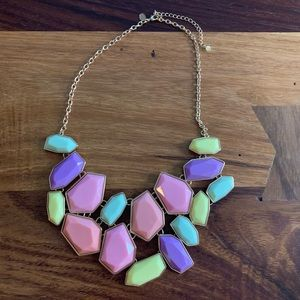 Gold & pastel chunky statement necklace